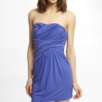 RUCHED KNIT STRAPLESS DRESS