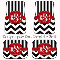 FULL SET! Monogrammed Car Mats! Design your own with Chevron, Polka Dots, Zebra and more.  Perfect gift for Sweet Sixteen or Senior Year!