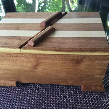 Handcrafted Mesquite & Maple Swivel Top Jewelry/Keepsake Box with inner tray