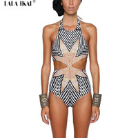 Floral Stripe Print Round Neck Sleeveless One Piece Swimsuit Halter Short Swimwear Women Hollow Out Trendy Bodysuits YWC0077-5