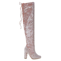 Hilltop20M Blush By Bamboo, Metallic Velvet Russian Inspired Over-Knee Block Heel Boot w Rear Tie
