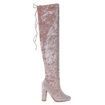 Hilltop20M Blush by Bamboo, Blush Metallic Velvet Russian Inspired Over-Knee Block Heel Boot w Rear Tie