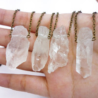Large raw crystal quartz chunk point Necklace by AstralEYE on Etsy