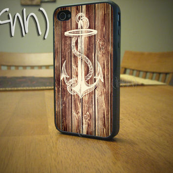 Nautical Wood iPhone 4 Case Anchor iPhone 4 or 4S Case by IFNH