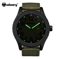 Mens Watches Green Outdoor Russian Style Military Army Watch Fabric Strap Quartz Watch for Men