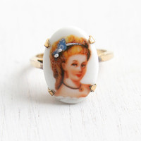 Vintage Porcelain Cameo Ring - 10k Gold Filled Hallmarked C&C Clark and Coombs Size 8 1/4 Victorian Lady Portrait Jewelry