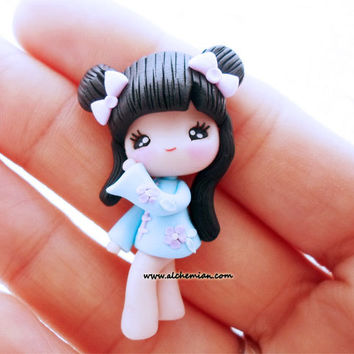 1 Kokeshi Japan Doll chibi necklace made in italy polymerclay