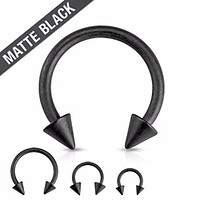 Matte Black IP Horseshoe with Spike Ends Circular Barbell 316L Surgical Steel