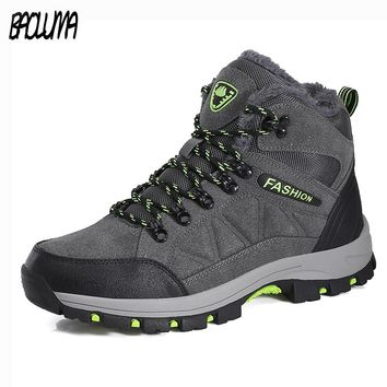 Plus Size Men Boots Winter Warm Snow Boots With Fur Men Ankle Boots Work Shoes Men Tactical Boots Waterproof Rubber Ankle Shoes