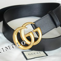 GUCCI authentic Belt GOLD GG buckle Black Leather size 85/34 fits 28-30