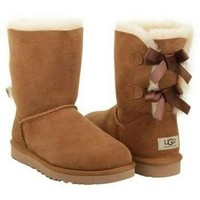 UGG Bow Leather Shoes Boots Winter In Tube Boots Shoes-2