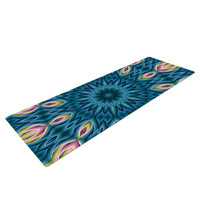"Sylvia Cook ""Zapped Teal"" Blue Teal Yoga Mat"
