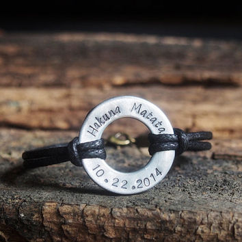 Mens Washer Bracelet, Washer Bracelet, Anniversary Gifts for Men, Personalized, Couple, Initial Bracelet, Anniversary bracelet Hakuna matata