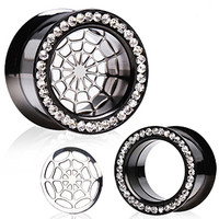 Titanium Anodized Flesh Tunnel Spider Web Ear Plug with CZs