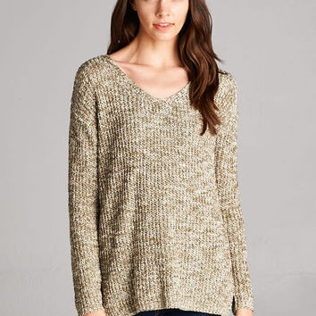 Two Tone Sweater - Olive