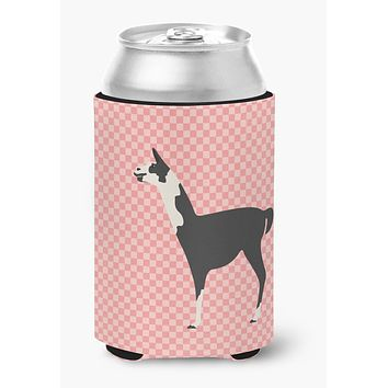 Llama Q' Ara Pink Check Can or Bottle Hugger BB7918CC