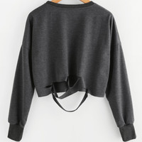Dark Grey Drop Shoulder Cut Out Crop T-shirtFor Women-romwe