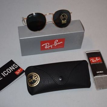 Gotopfashion Brand New Ray-Ban 50mm Round Metal Gold Framed Sunglasses - (RB344700150)