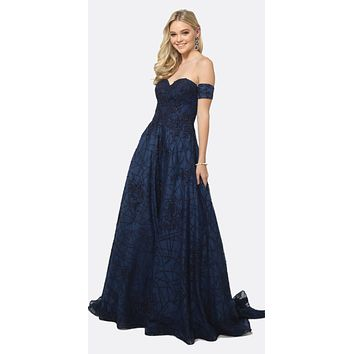 Long Embroidered Lace Ball Gown Dress Navy Blue With Arm Band