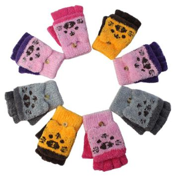Child Girl Winter Gloves Color Block Knit Twist Warm Plush Cute Half Finger Warm Gloves Fingerless Gloves Children Mittens