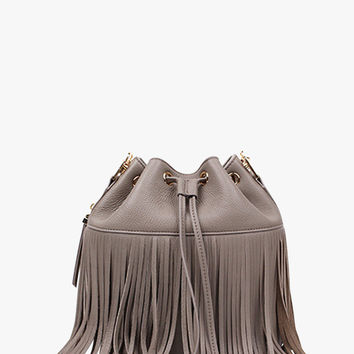 Gray Red Black or Nude Fringed Leather Bucket Bag