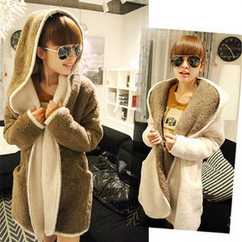 Korean Women canopy thicker plush hooded jacket coat winter coat women (Size: M, Color: Multicolor)