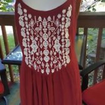 Garage Womens Size L Large boho Tank embroidered hippie Dress brick red