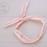 PINK Striped Wire Headband Bow Headband Toddler Headband Adult Rockabilly Headband Retro Tie UP Headband