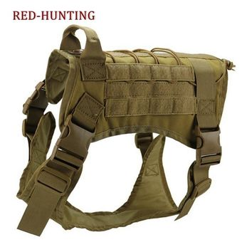 Tactical Service Dog Vest Training Hunting Molle Nylon Water-resistan Military Patrol Adjustable K9 Dog Harness with Handle