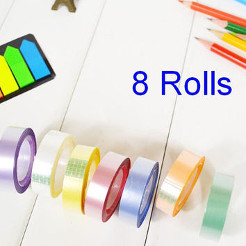 Rainbow Sticker tape 8 Rolls colorful deco tape 8 colors Purple white peach pink yellow silver green blue Rainbow Masking tape set gift
