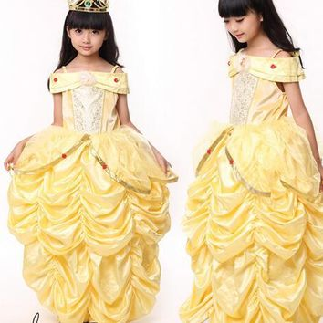 princess belle Halloween Beauty and the Beast Costume kid child Girl 100-140cm  gifCostume Suit Fancy Dress Cosplay Costume
