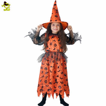 make customized one size for 4-6,7-9 ages orange kids cosplay dress halloween costume Children Witch Costume #160411_a84