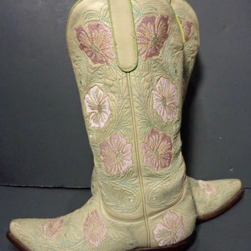 OLD GRINGO Cream Pink Flowers Cowgirl Boots Women's Size 7