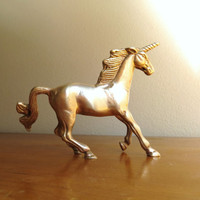 Vintage Brass Unicorn Figurine, Mid Century, Gold Animal Statue, Small Horse