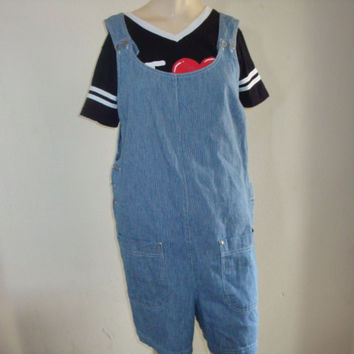vintage railroad stripe denim jean overalls shortalls coveralls shorts size xl 2x hipster indie boho playsuit