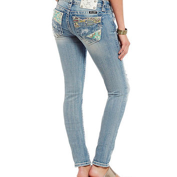 Miss Me Distressed Patchwork-Pocket Skinny Jeans | Dillards