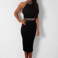 Opulent Black Crystal Embellished Halter Midi Dress | Pink Boutique