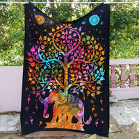 Magical Thinking Tree of Life Psychedelic Wall Hanging Elephant Tapestry