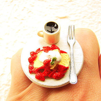 Kawaii Food Ring Coffee French Toast Miniature by SouZouCreations