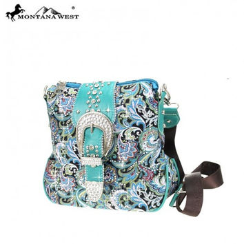 * Buckle Collection Messenger Bag In Turquoise