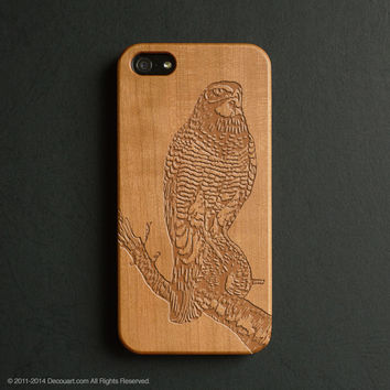 Real wood engraved eagle pattern iPhone case S040