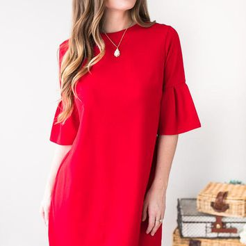 Visions Of You Ruffle Sleeve Dress- Red