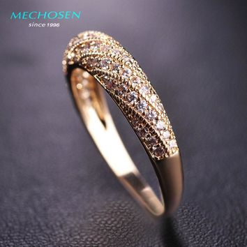 MECHOSEN Luxury Cubic Zirconia Finger Rings For Women Silver Color Copper Crystal Anillos Mujer Wedding Party Men's Jewelry Anel