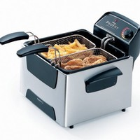 Presto 5466 0ProFry Stainless-Steel Dual-Basket Immersion-Element 12-Cup Deep Fryer