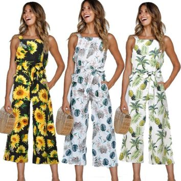 1Pcs Women Sexy Sleeveless Floral Printed Harem Jumpsuit