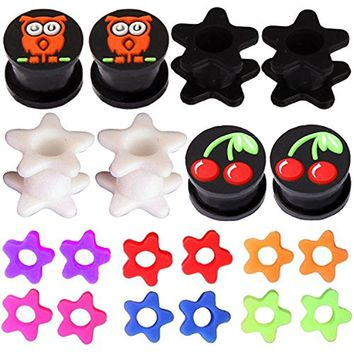 BodyJ4You 20PC Gauge Plugs Double Flare Flexible Silicone Tunnel Owl Cherry Flower Ear Expander 2G-12mm