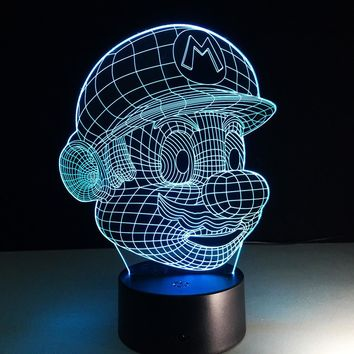 Super Mario party nes switch  Cartoon Lampara LED 3D Night Light Acrylic 3D Lamp Touch Luminaria USB Table Mood Lamp Baby Night Light AT_80_8