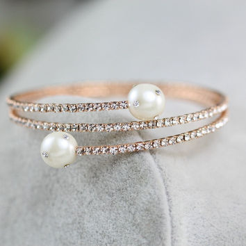 New Arrival Gift Hot Sale Awesome Great Deal Shiny Accessory Bangle Diamonds Pearls Stylish Bracelet [6513527431]