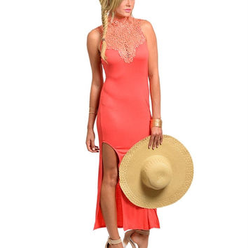 THE SO CLASSY CORAL LONG MAXI DRESS