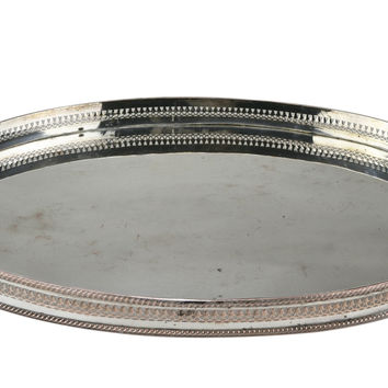 Large Silver Plated Drinks or Tea Tray Antique English 19th Century